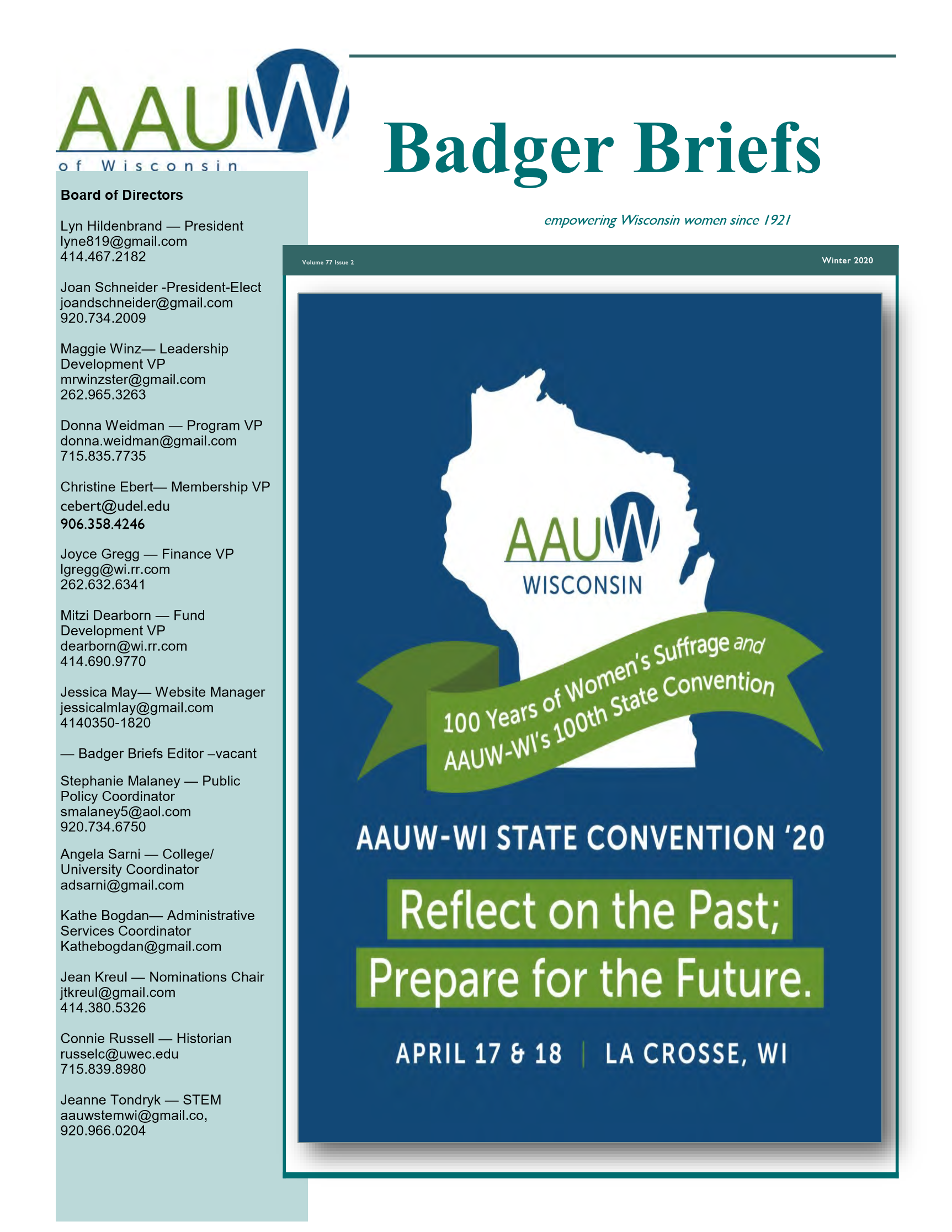 Image of Page 1 of Badger Briefs Winter 2020
