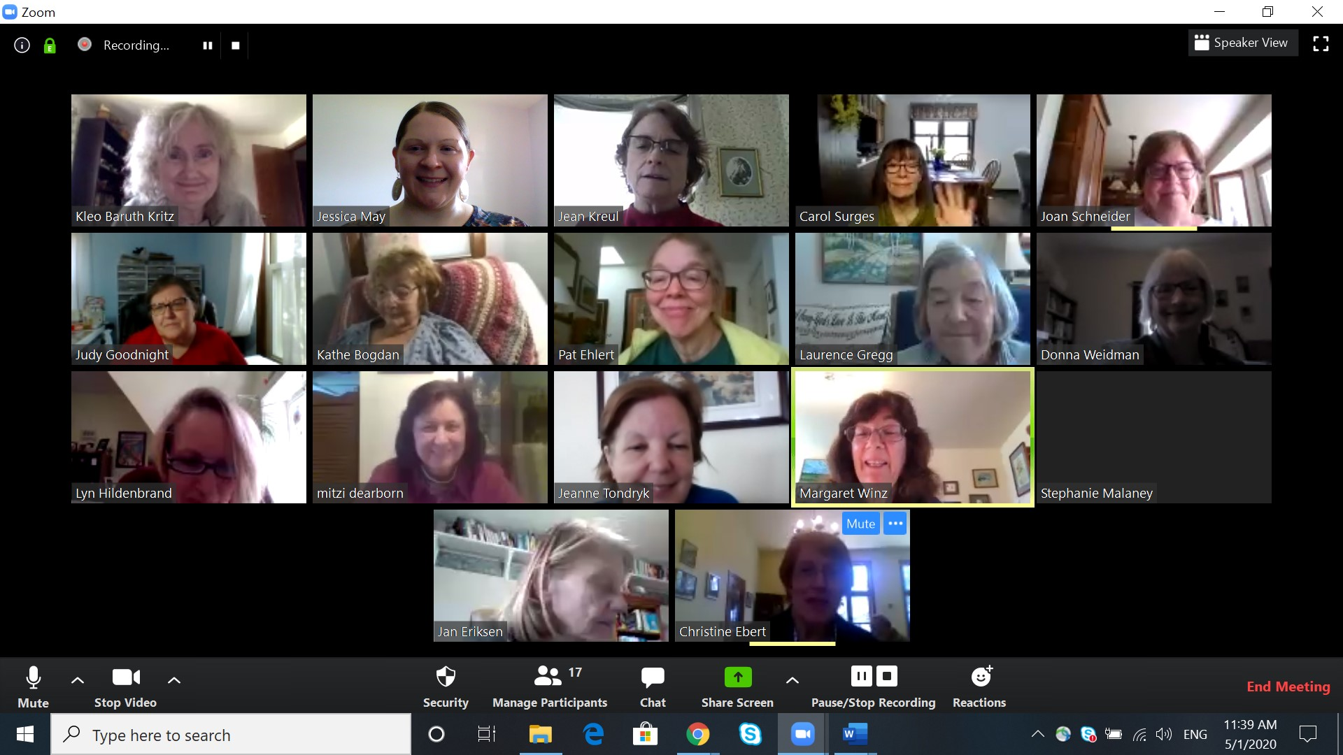 Screen capture of AAUW WI Board Meeting via Zoom